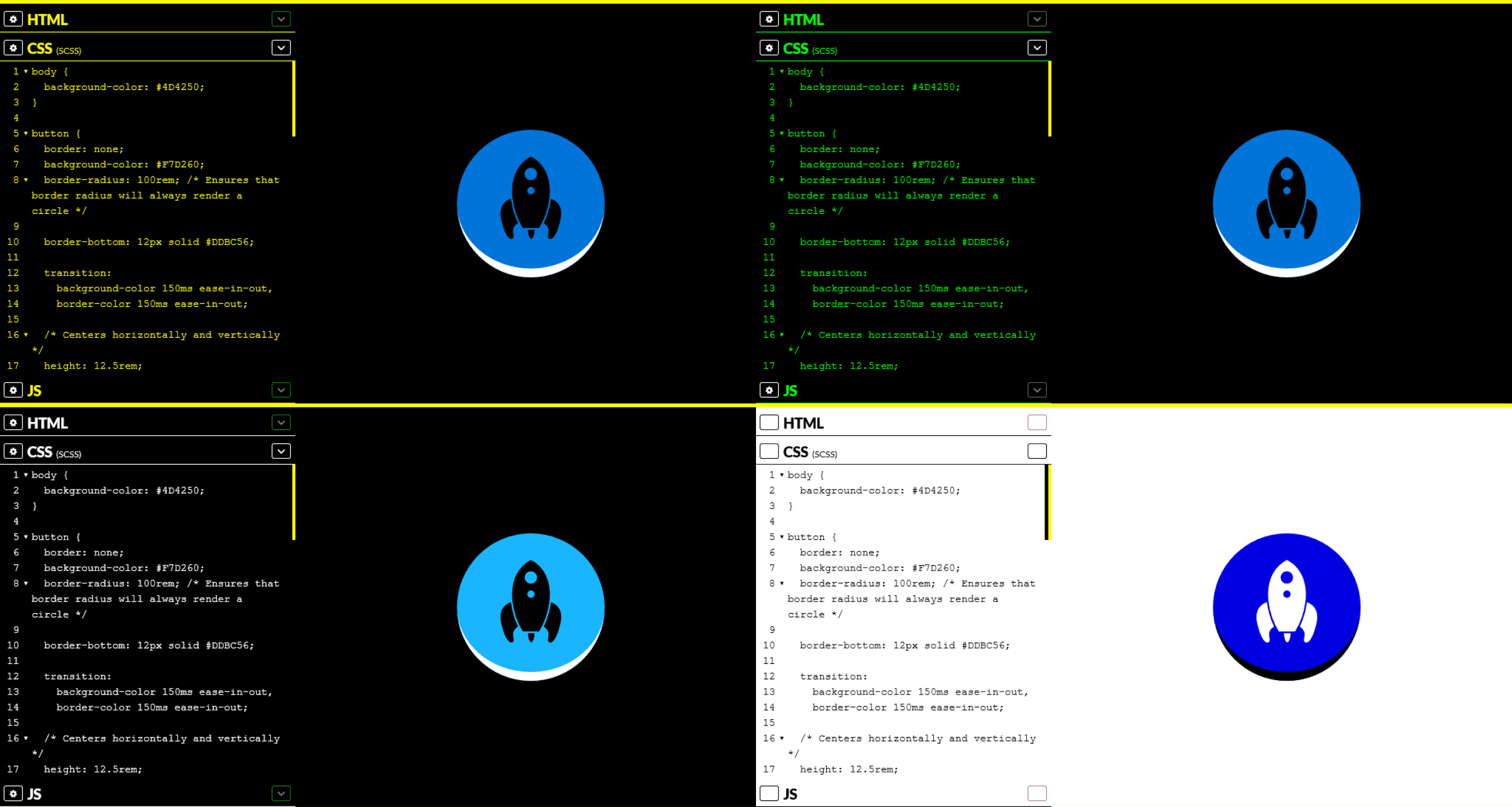 Example screenshots showing a high contrast icon in CodePen