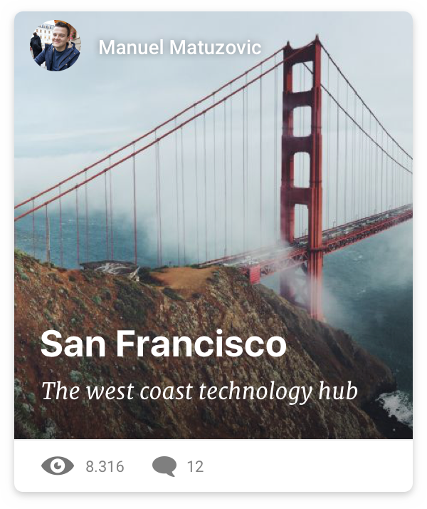 card UI of a travel blog post