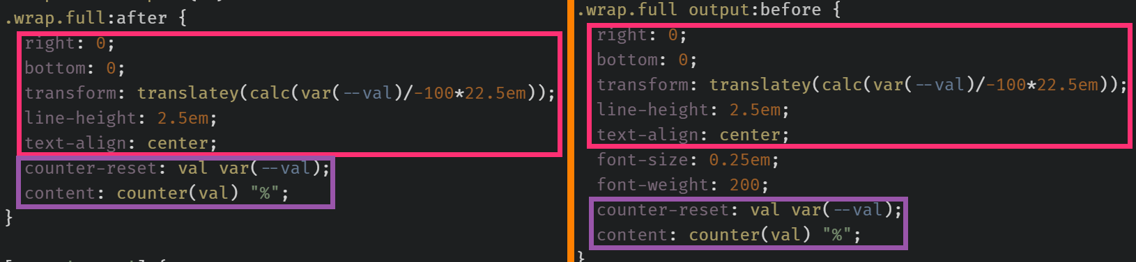 Screenshot collage. Shows the styles on the .wrap.full:after (left) and highlights how all of them can be found afterwards on the .wrap.full output:before (right), in addition to those bringing the font down to the size and weight it has on the wrapper.