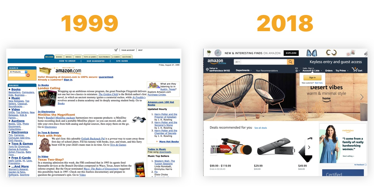 A screenshot of the Amazon.com homepage from 1999 showing a lot of text next to another screenshot of the homepage in 2018 showing a clean design with a focus on product images.