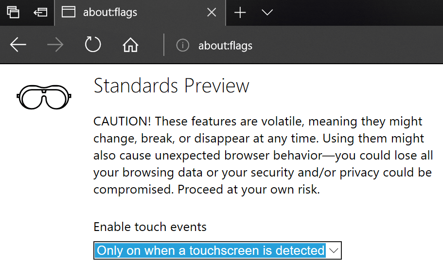 Screenshot showing the 'Enable touch events' option being set to 'Only when a touchscreen is detected' in about:flags in Edge.