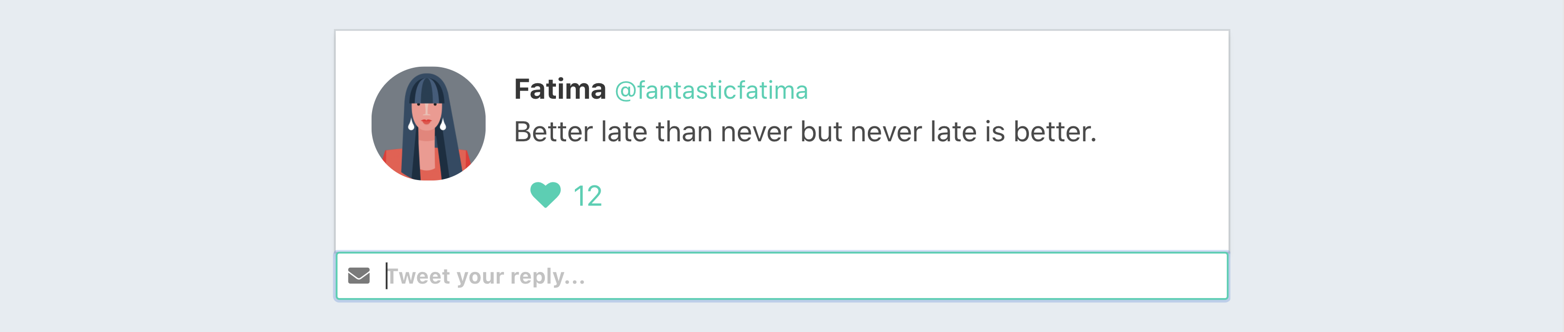 A mockup of the tweet we are trying to create that looks exactly like the one diagramed earlier. This one has an additional component that includes a text input for submitting a reply.