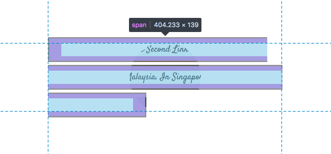 A screenshot of a span of text being highlighted in DevTools showing that text is split up in three lines and with uneven start and end points.
