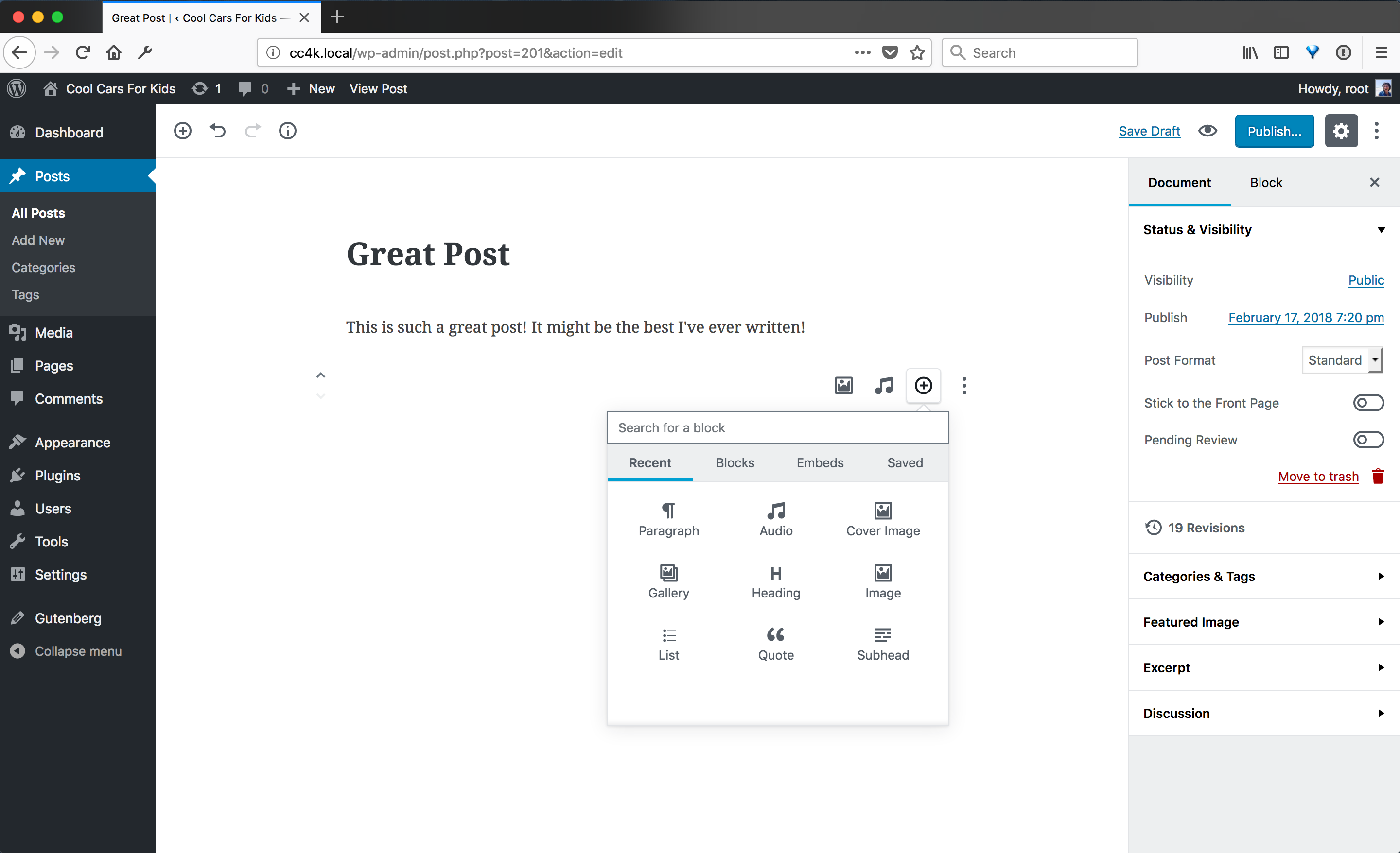 Screenshot of a blank Gutenberg post with a view of the blocks library