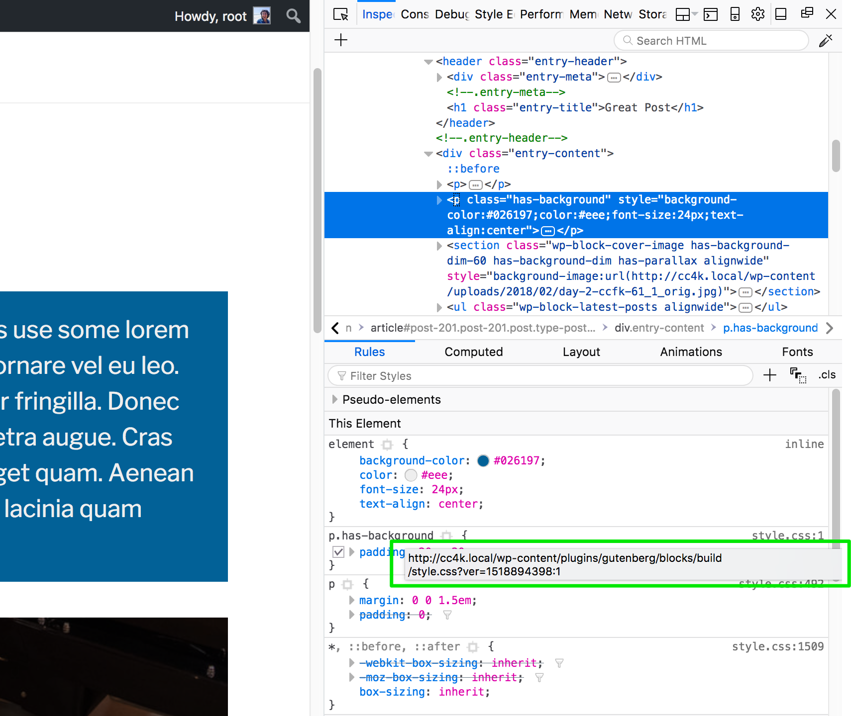A view of the style inspector showing a path to a stylesheet from the Gutenberg plugin folder