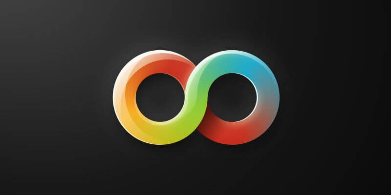 Original illustration. Shows a thick infinity symbol with a rainbow gradient filling its two loops and some highlights over this gradient.