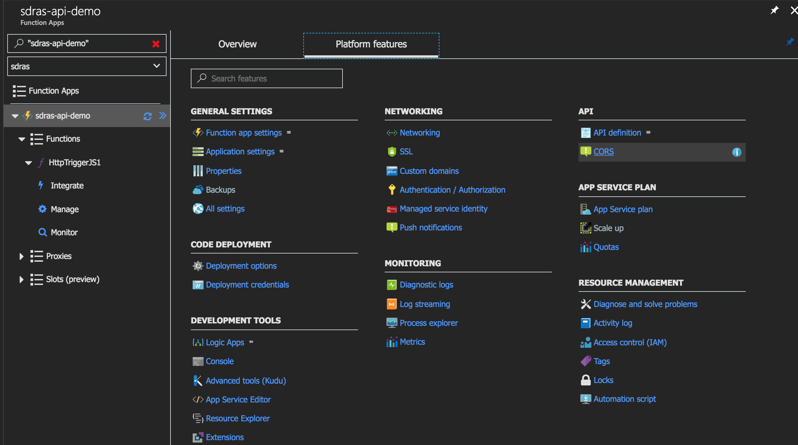 Showing where CORS is in the dashboard