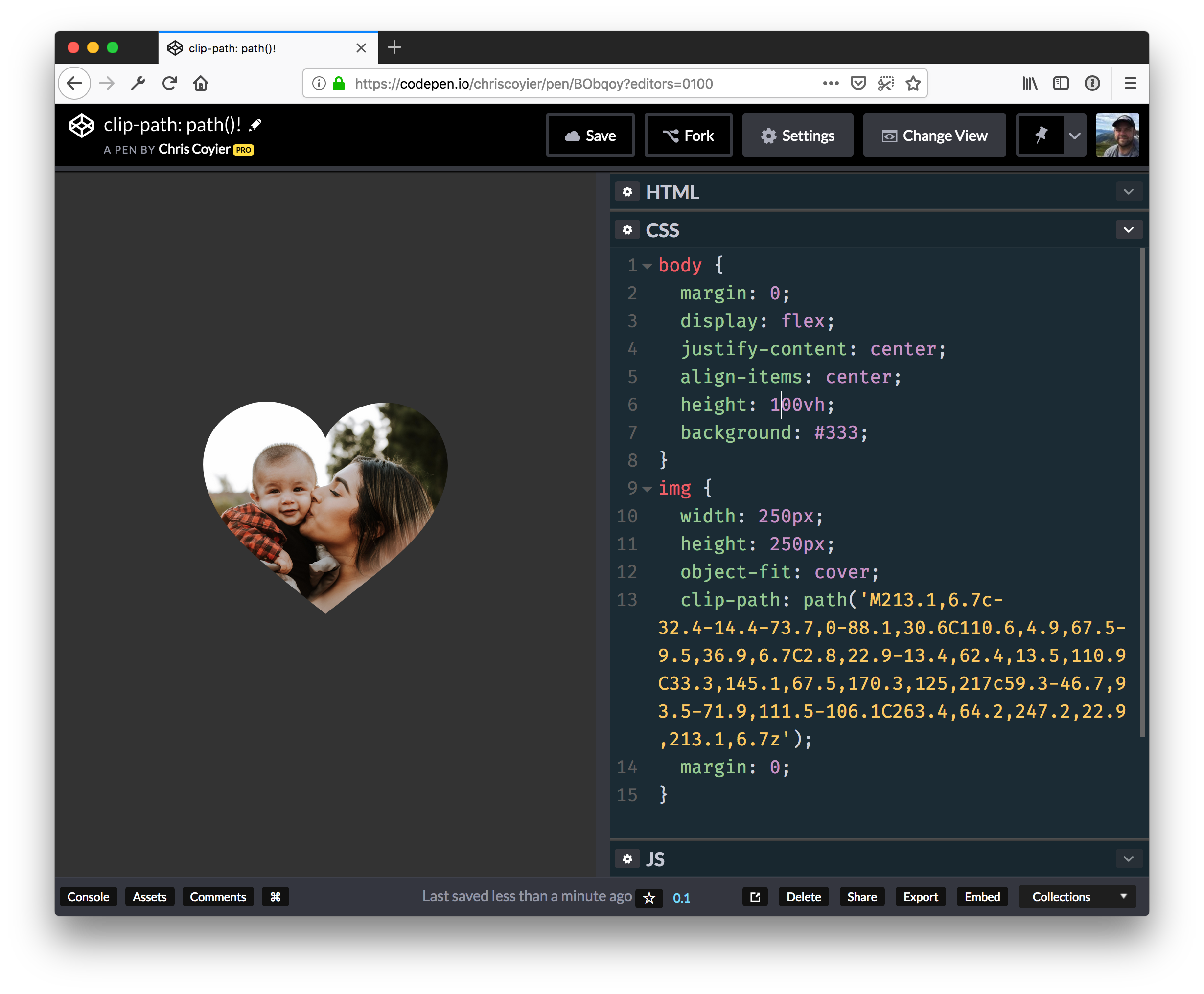 A screenshot of clip-path: path() working in Firefox Nightly