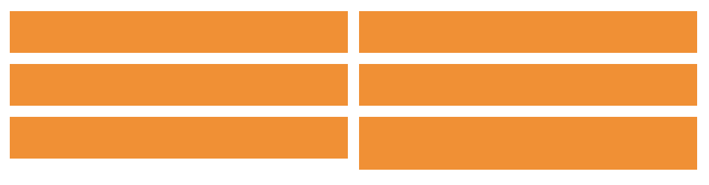 A two-by-three grid of orange rectangles. The last rectangle is a little taller than the others.