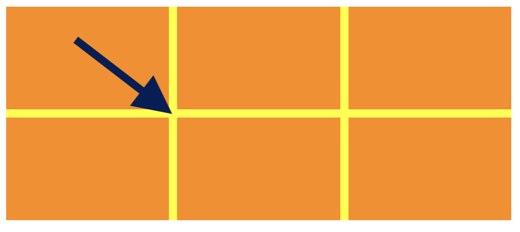 A three-by-two grid of orange rectangles. A block arrow is pointing at a gap between the rectangles.