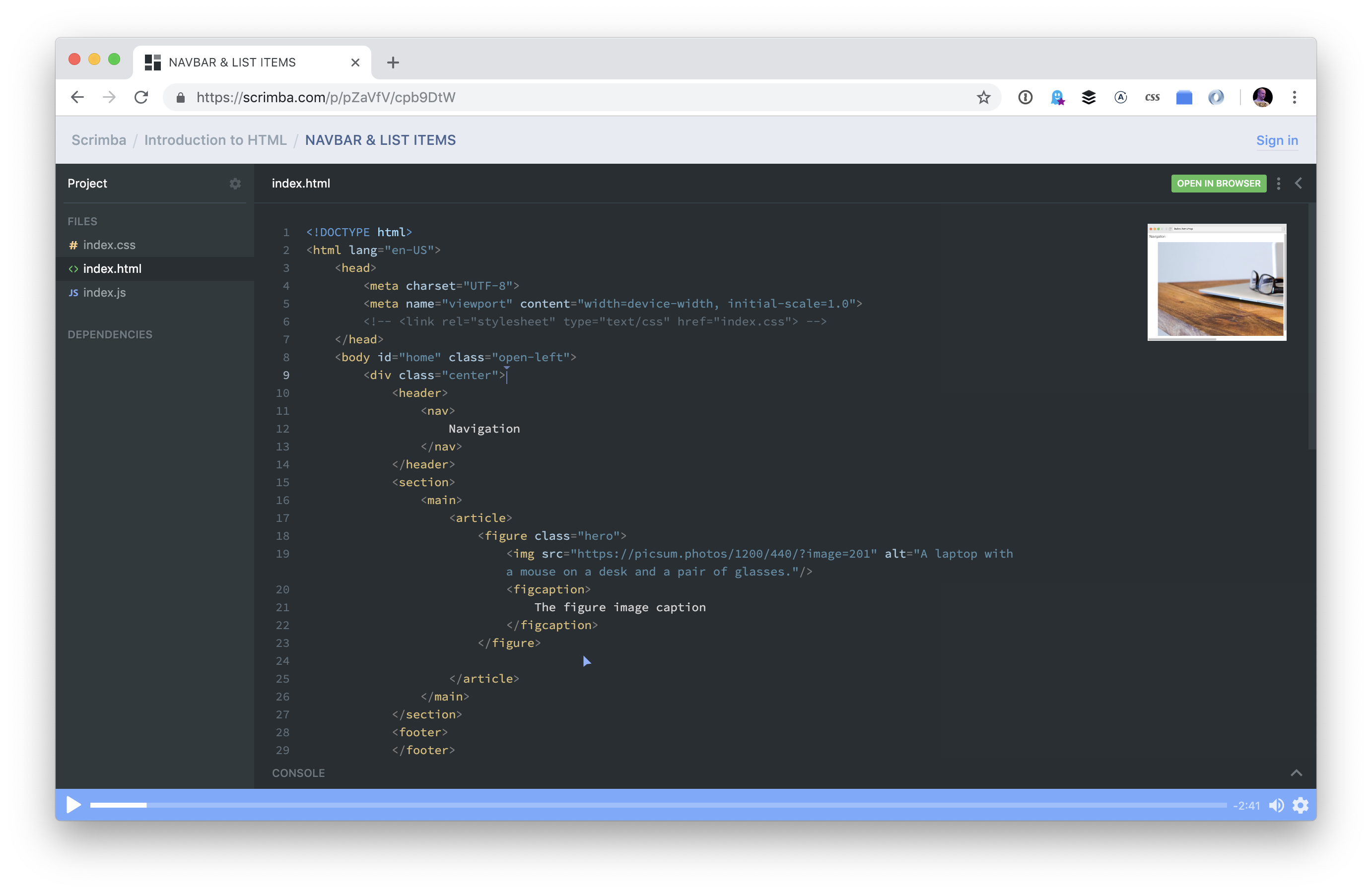 A screenshot of the Scrimba course. It resembles a code editor with a dark gray background, sidebar outlining web assets, and an editor with code in the main area.