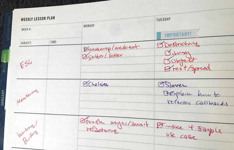 example of scheduling by theme, subjects broken down by day