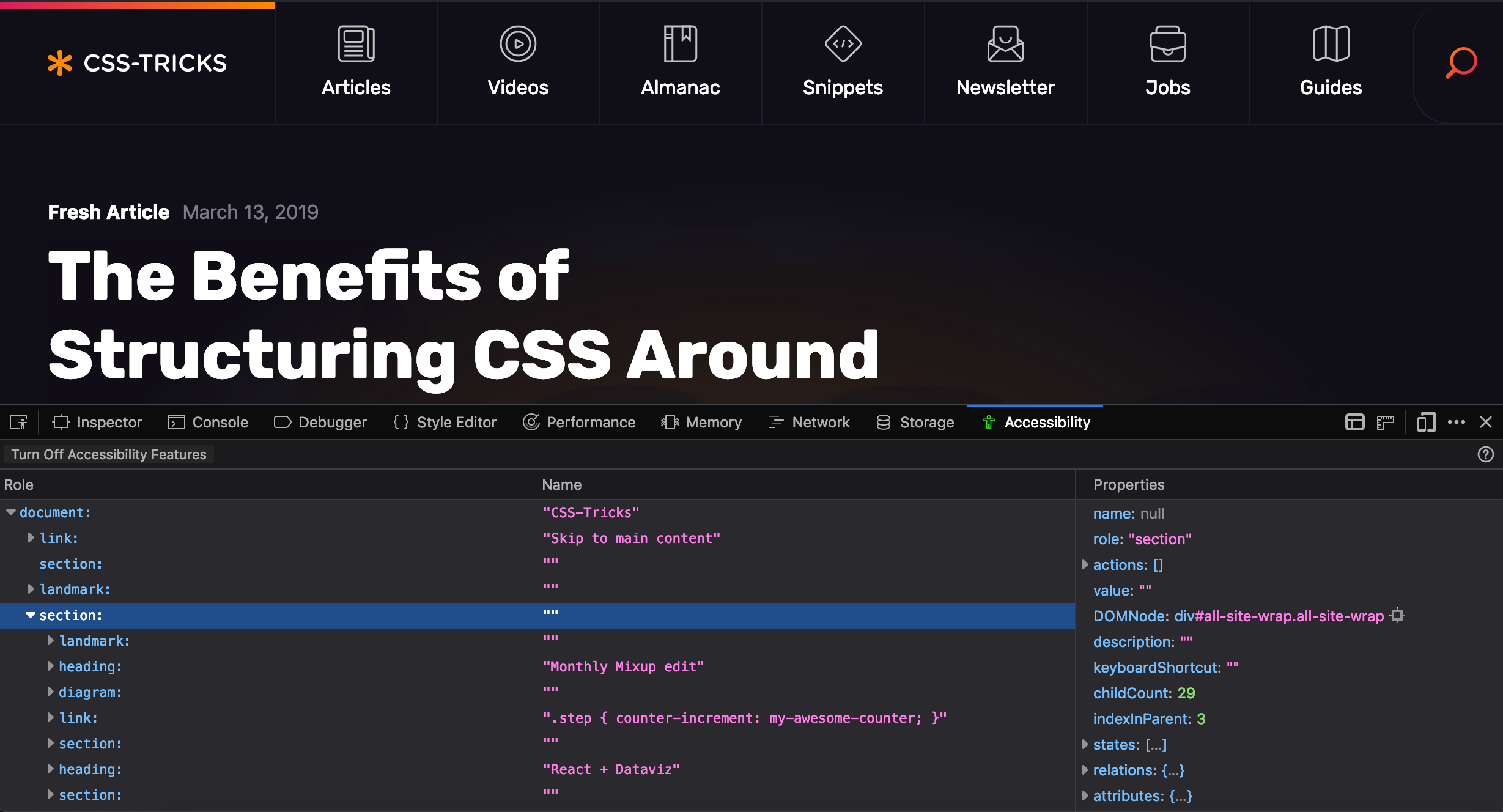 An image of the Firefox Accessibility tool inspecting the CSS-Tricks website