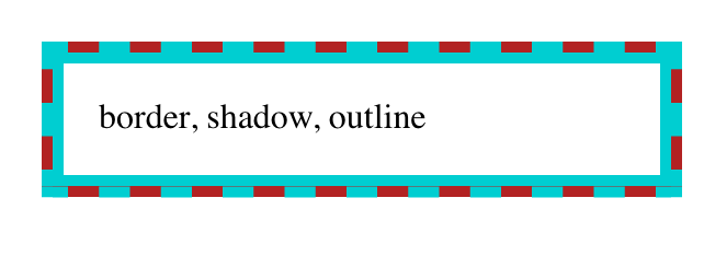 A box with a dashed red border and a turquoise background that not only fills the dash gaps, but overflows the red border toward the inside edge of the box.