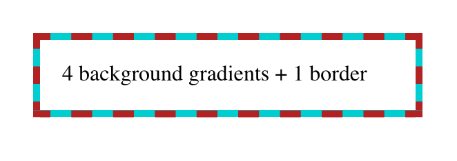 A box with a dashed red border and a turquoise background that fills in the dash gaps.