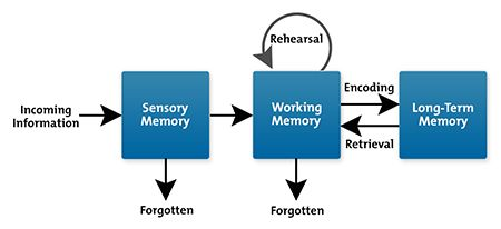 diagram showing that practice helps us store long term ideas