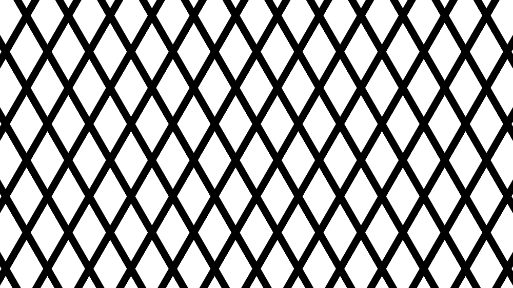 Pattern with white rhombic shapes at the intersection of thick black hashes angled in two different directions.
