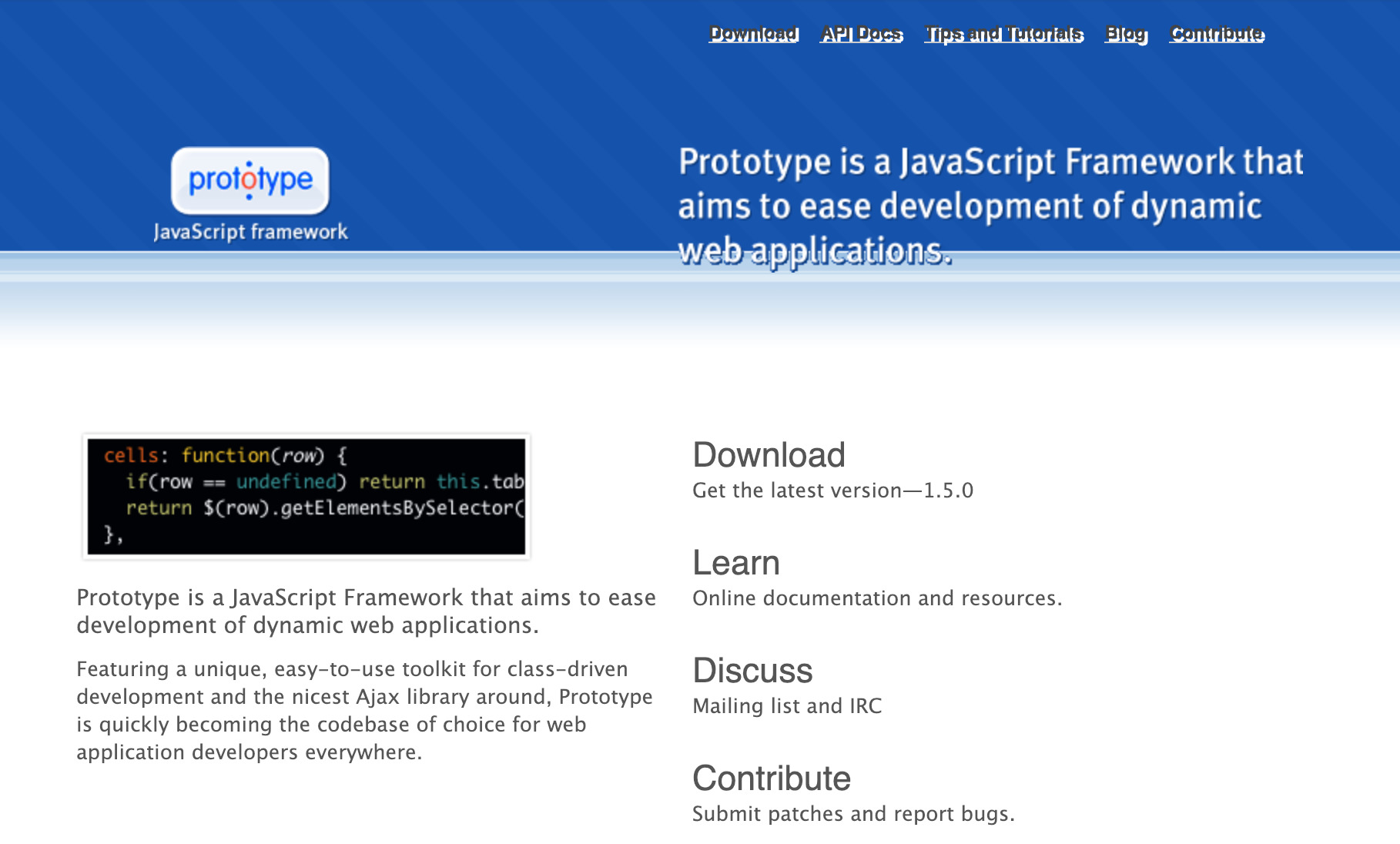 A screenshot of the Prototype website.