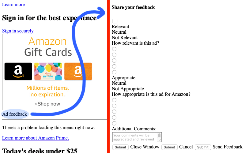 Blue curvy arrow showing destination to ad feedback form when clicking Ad Feedback text under ad