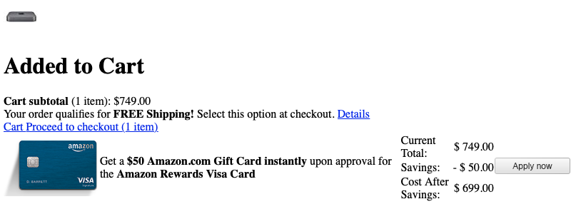 Part of shopping cart page showing a Mac Mini added, Cart and Proceed to Checkout links together, and gift card offer with cost after deduction