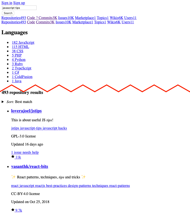 """Search results for a """"javascript tips"""" query."""