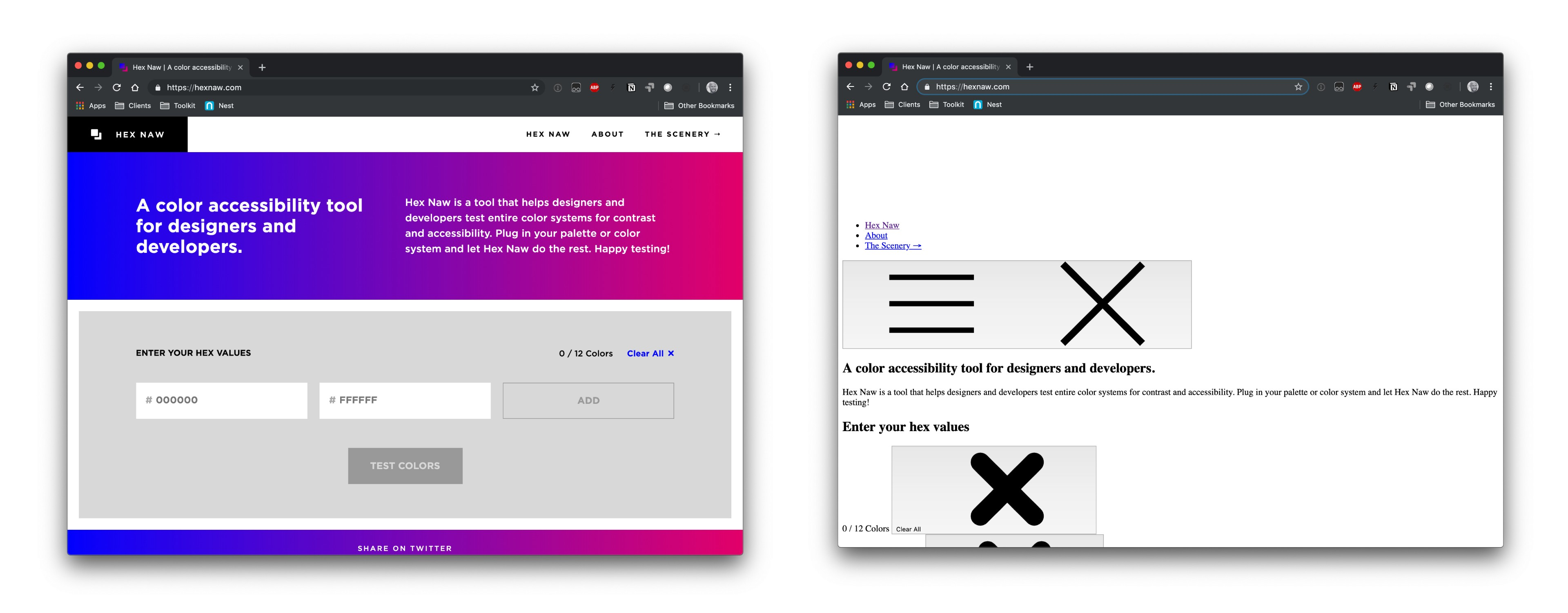 The Hex Naw tool with and without CSS