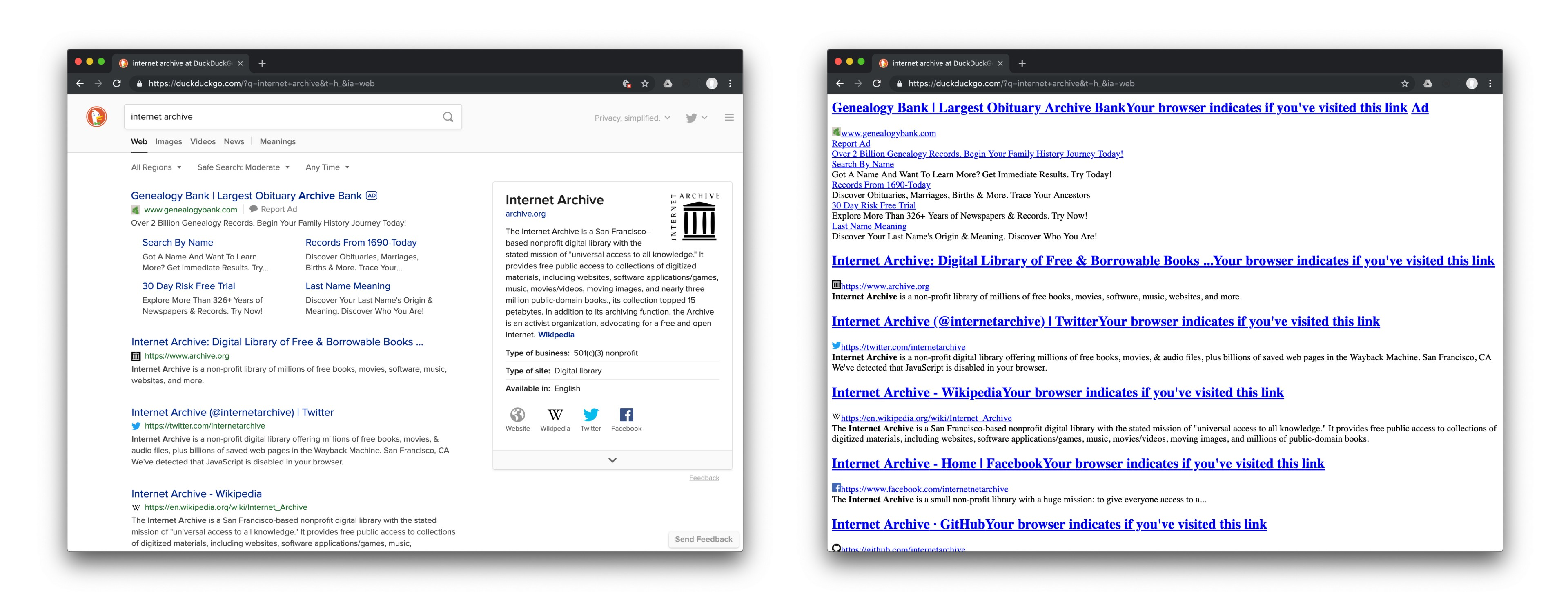 Comparison of search results page with and without CSS. Extra text appears next to titles in the non-CSS version.