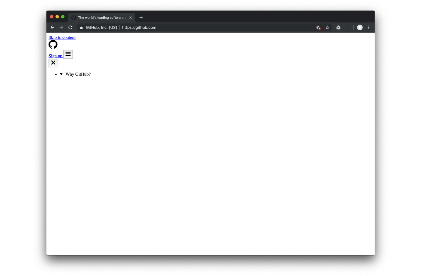 Wide gap after Why GitHub? dropdown