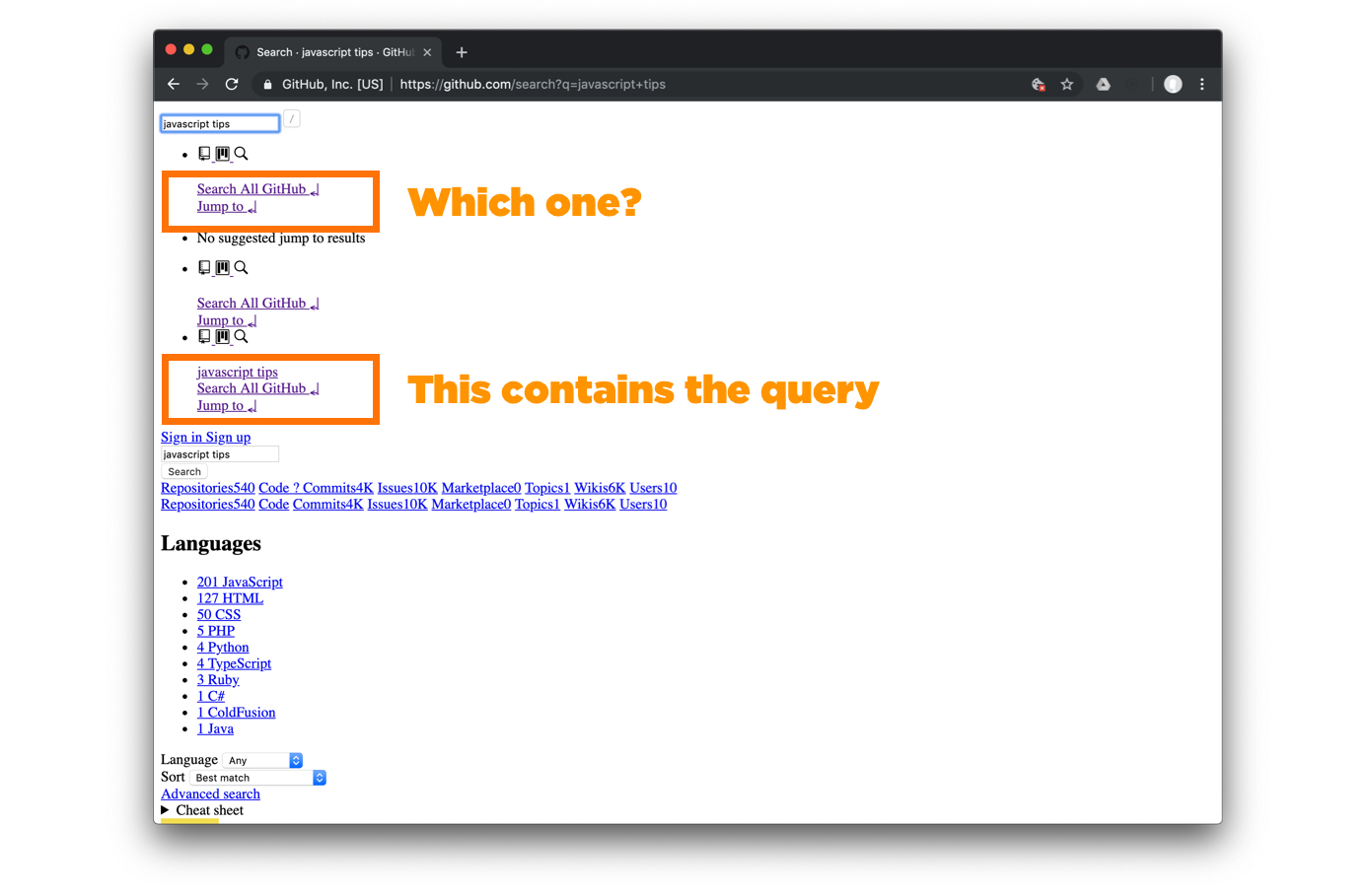 Orange outline boxes around groups of search links
