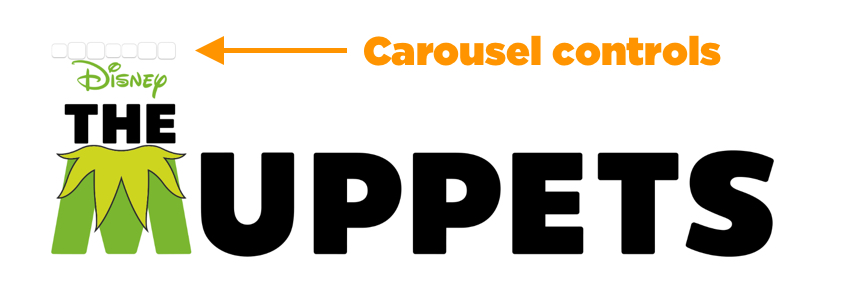 Orange arrow pointing to blank buttons above carousel, which are the controls