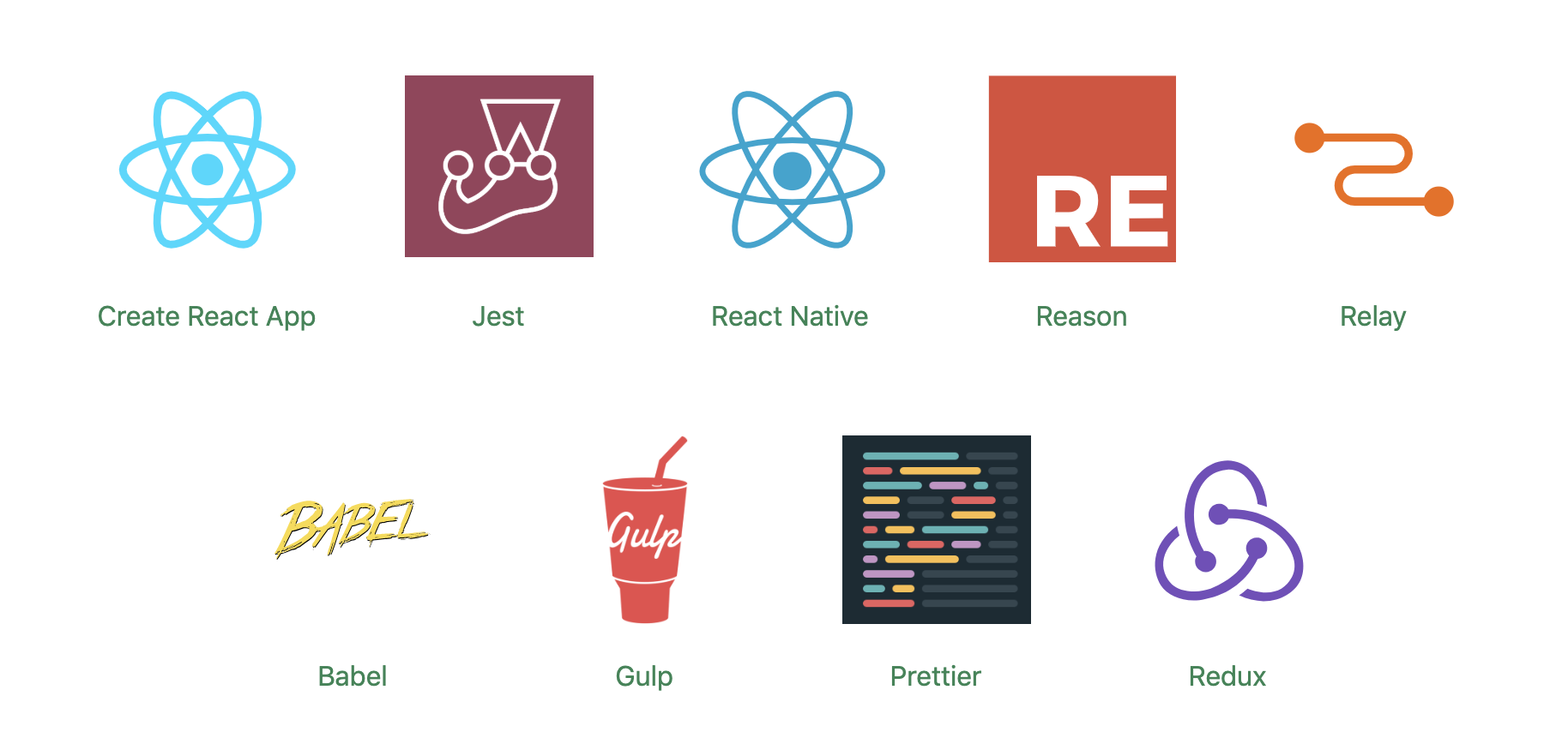 A screenshot of logos of all the various frameworks that support Docusaurus, including React, Gulp, Jest, Babel, Redux and Prettier.