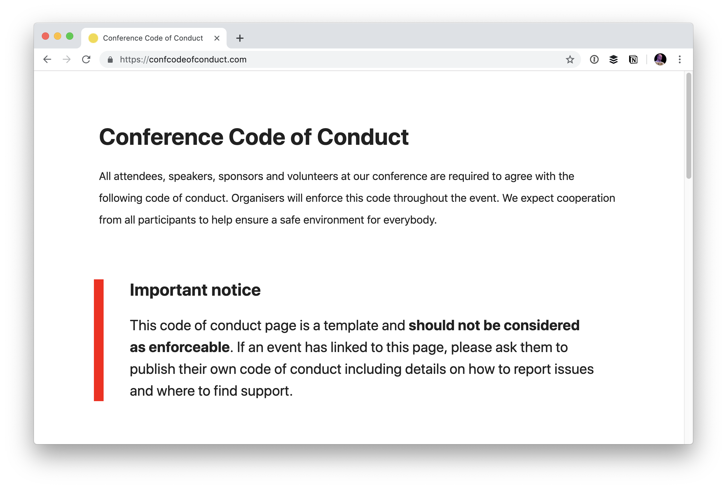 warning from https://confcodeofconduct.com/