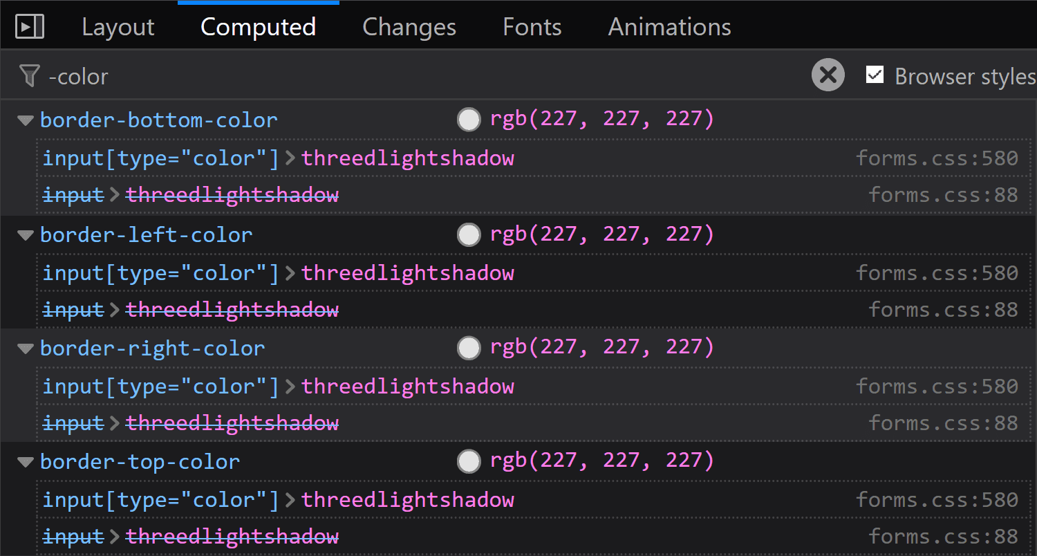 Screenshot of Computed panel search in Firefox on Windows, showing that the ThreeDLightShadow keyword computes to rgb(227, 227, 227).