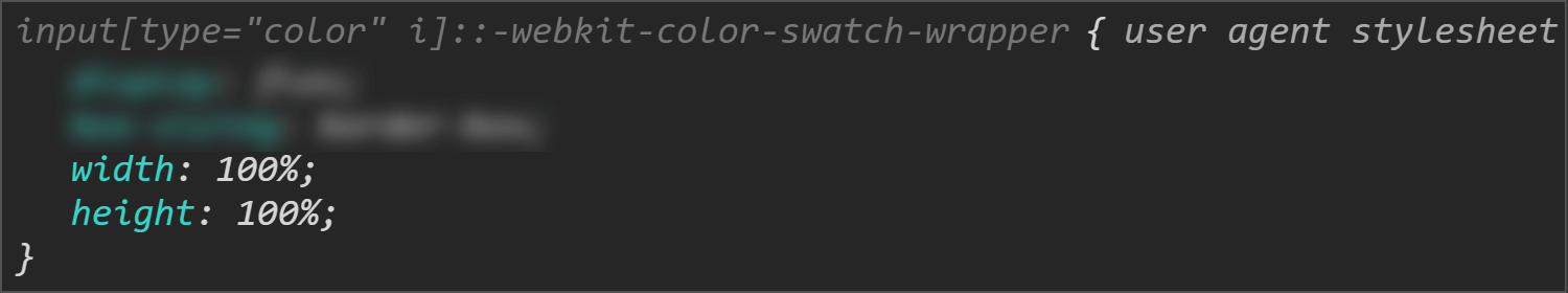 Chrome DevTools screenshot showing the size values for the swatch wrapper.
