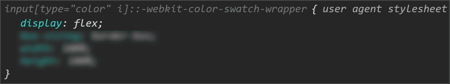 Chrome DevTools screenshot showing the display value for the swatch wrapper.