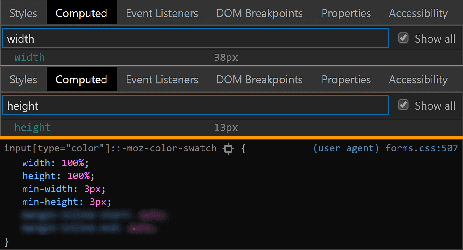 Comparative screenshots of DevTools in the two browsers showing the size values for the swatch component.