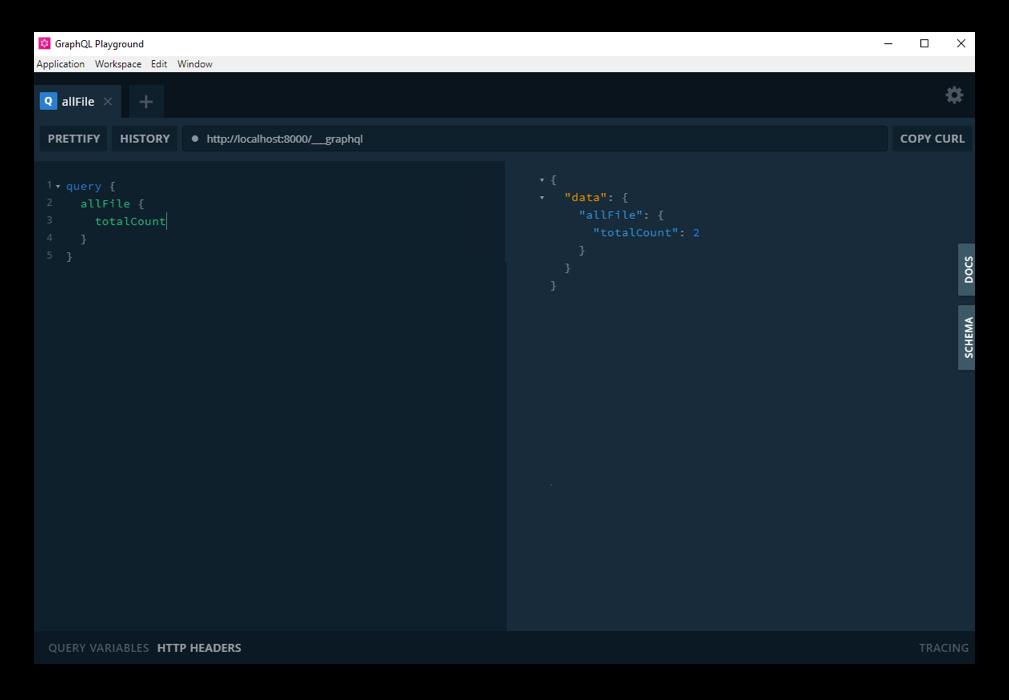 Screenshot of the GraphQL Playground interface. It has two panels showing the Gatsby GraphQL operations.