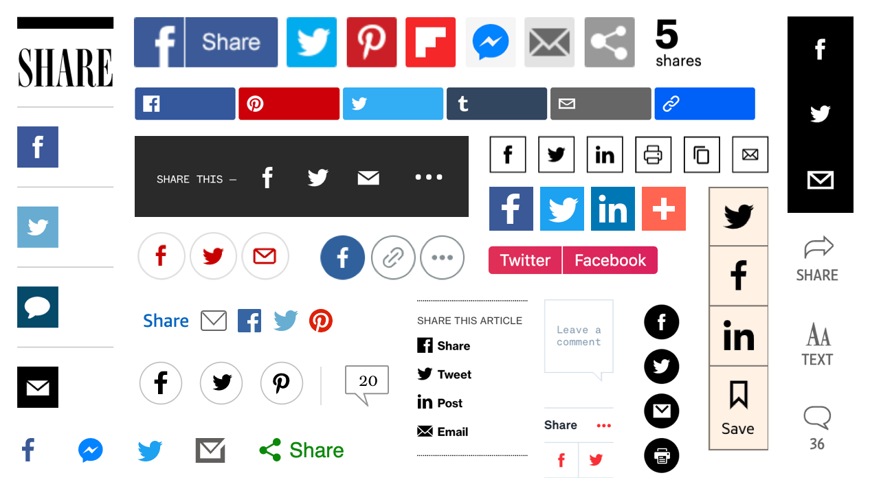 A collage of various share buttons from sites across the web.