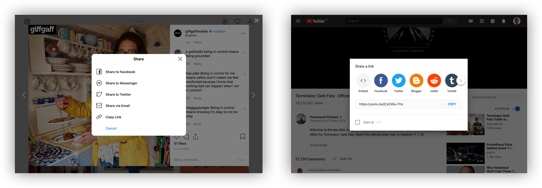 Comparing Instagram and YouTube share options on desktop.