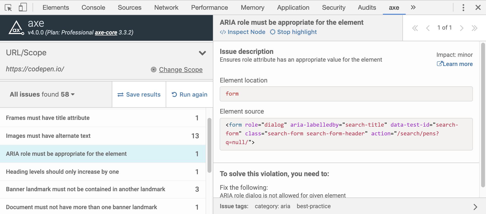 axe in Chrome DevTools
