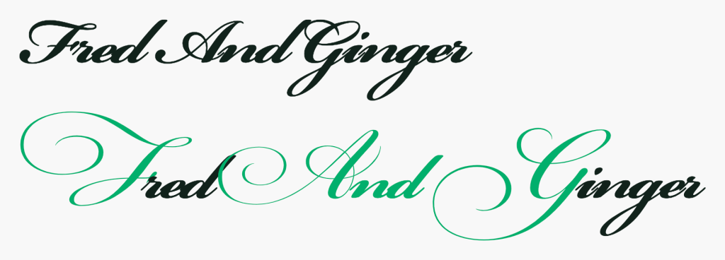 "An example of a swash being applied to a script-style typeface. There's two versions of the phrase, ""Fred And Ginger"". The first version doesn't have swashes activated. The second example does. In the second example, the letter F, and, and the letter G are highlighted to demonstrate them being activated. Screenshot."