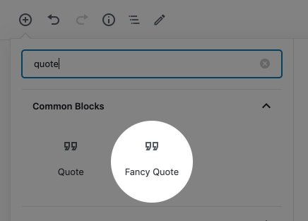 Showing the Fancy Quote variation in the WordPress Block Inserter.