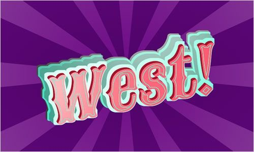 """The word """"West!"""" rendered in a Wild West-style font, with layered teal drop shadows giving it a 3D effect. Behind it is a purple starburst pattern. Screenshot."""