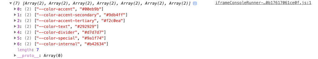 The output of getCSSCustomPropIndex showing an array of arrays containing every custom property and its value