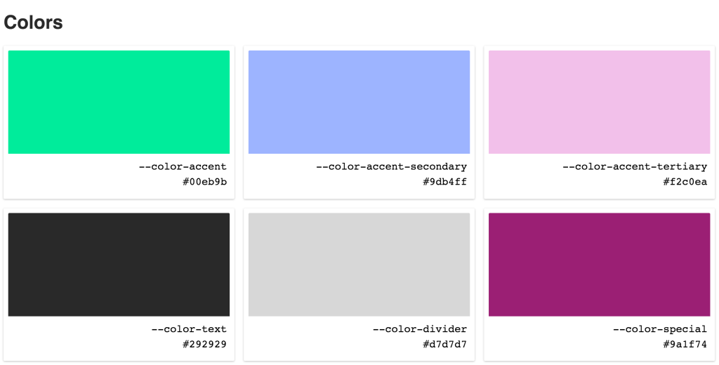 A preview of our CSS custom property-driven color palette. Showing six cards, one for each color, including the custom property name and hex value in each card.