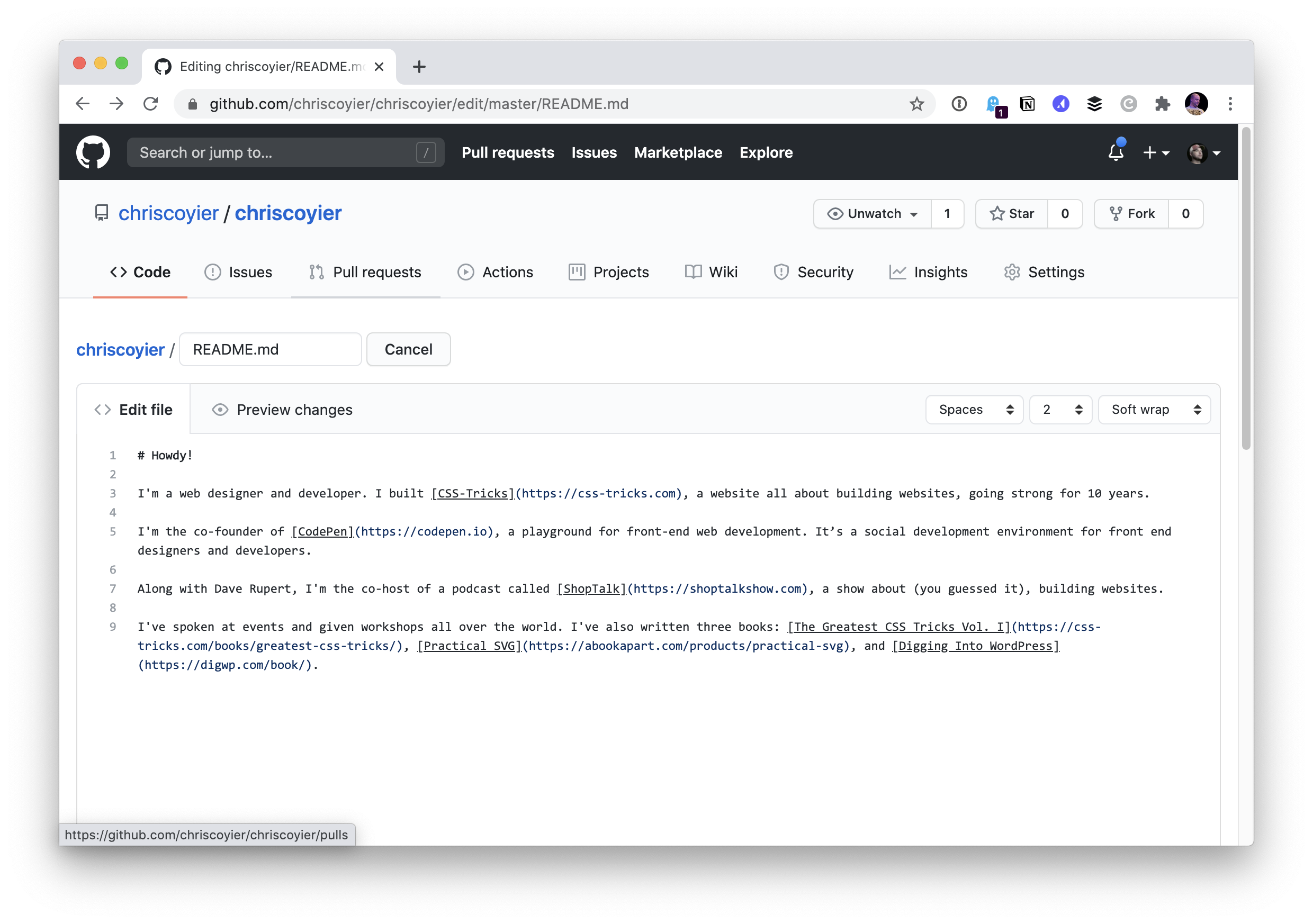 Screenshot showing the Markdown code from the personal website in the GitHub editor.