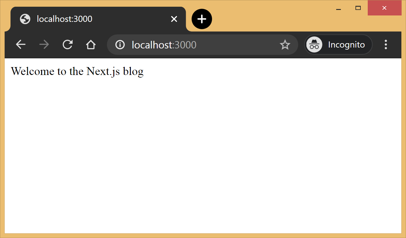 Screenshot of the homepage in the browser. The content says welcome to the next.js blog.