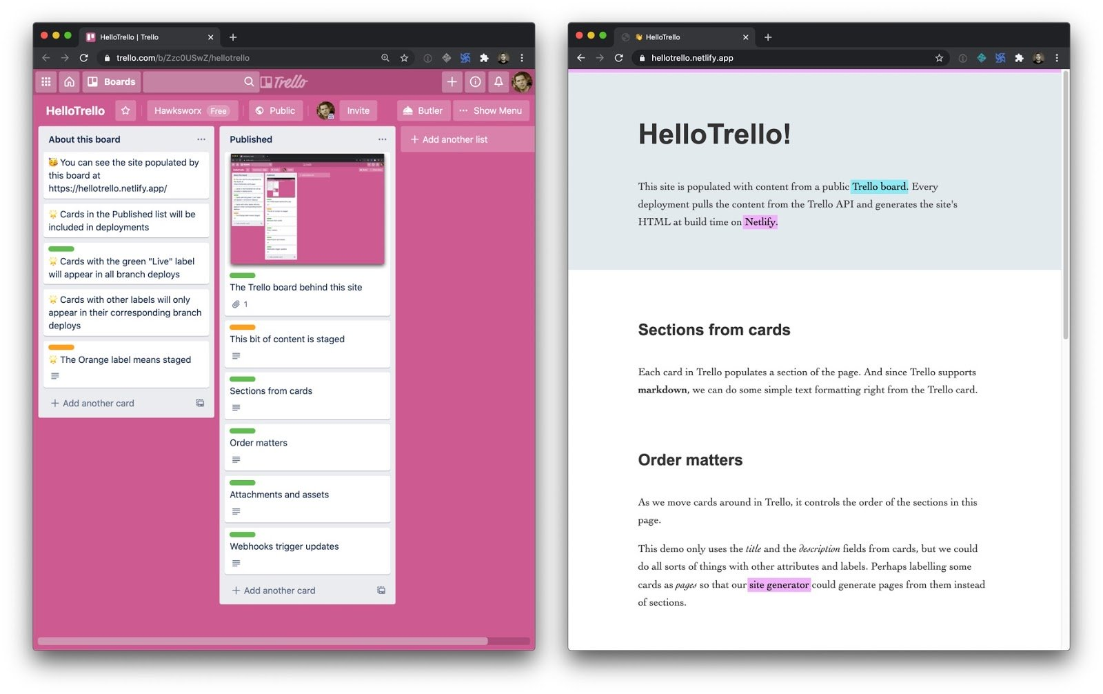 Two webpages side-by-side. The left is a Trello board with a bright pink background. The right is a screenshot of the build website using Trello data.