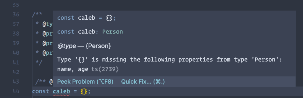Screenshot of an example of TypeScript throwing an error on our vanilla JavaScript object