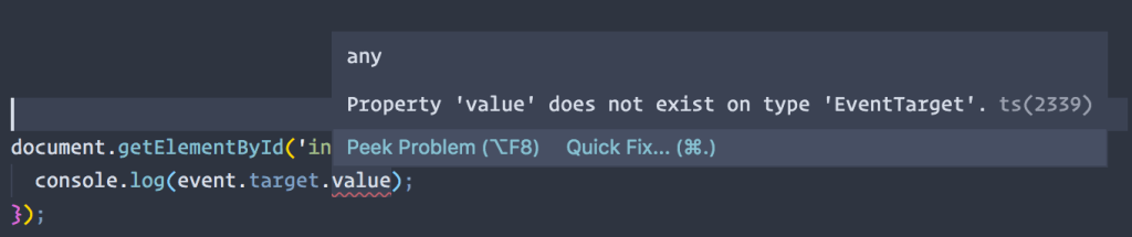 A screenshot showing that value doesn't exist on type EventTarget